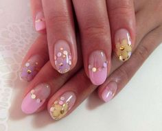 Цветной френч с золотыми кружочками ::: onelady.ru ::: #nail #nails #nailart #manicure