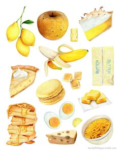 Archival quality print of original illustration featuring a variety of foods in shades yellow. Printed, hand-signed and lovingly-packaged by Cute Food, Yummy Food, Dessert Illustration, Tumblr Food, Food Sketch, Watercolor Food, Watercolour, Yellow Foods, Gula