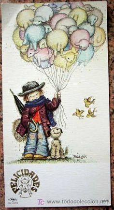 Detalle de la imagen de -TARJETA DE FELICITACION. DIBUJO DE FERRANDIZ. 8,5 X 16,5 CM. (Postales ... Cute Boys, Boy Or Girl, Rooster, Xmas, Teddy Bear, Illustration, Painting, Animals, Vintage