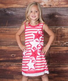 Look what I found on #zulily! Raspberry Stars & Stripes Dress - Infant, Toddler & Girls by Liv & Monkey by Jelly the Pug #zulilyfinds