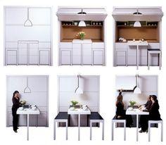 kleine weiße Küche Einbaumöbel