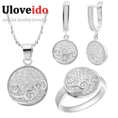 Find More Jewelry Sets Information about Round Flower Wedding Jewelry Sets for Brides Earrings Ring Necklace Silver Set Wedding Costume Jewellery Prata 925 Ulove T142,High Quality earring tree jewelry holder,China earring accessories Suppliers, Cheap earring stone from ULOVE Fashion Jewelry on Aliexpress.com