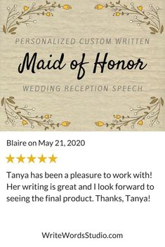 Another happy Write Words Studio client! Visit WriteWordsStudio.com for help with your maid of honor speech. #maidofhonorspeech #maidofhonor Maid Of Honor Toast, Maid Of Honor Speech, Matron Of Honour, Bridesmaid Speeches, Wedding Toasts, Custom Writing, Wedding Reception Decorations, Wedding Ideas, Getting To Know You