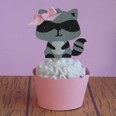 Woodland Creature Girl Raccoon Cupcake Toppers by PaperPartyParade, $3.50
