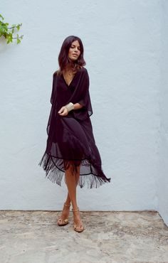 Boho Tassle Fringe Kaftan in Pure Black by DancingLeopard on Etsy, £48.50
