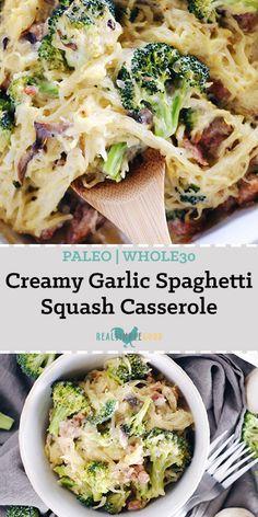 Creamy Garlic Spaghetti Squash Casserole (Paleo, GF + Dairy-Free) This creamy garlic spaghetti squash casserole is so creamy and delicious! It has a Paleo + compliant creamy sauce that's smothered over spaghetti squash, mushrooms, broccoli Courge Spaghetti, Garlic Spaghetti, Whole 30 Spaghetti Squash, Healthy Spaghetti Squash Recipes, Whole 30 Spaghetti Sauce, Recipes With Spaghetti Squash, Sausage And Spaghetti Squash, Spaghetti Squash Noodles, Whole Food Recipes
