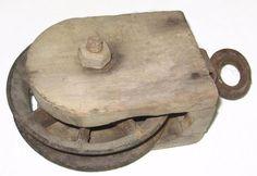 Hay Rope 6 Inch Wood Wooden n Cast Iron Pulley Antique Primitive Farm Barn Spoke #Primitive