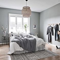 36 Stunning Modern Scandinavian Bedroom Design And Decor Ideas - Popy Home Scandinavian Bedroom Decor, Scandinavian Apartment, Home Decor Bedroom, Bedroom Furniture, Bedroom Ideas, Scandinavian Design, Bedroom Designs, Bedroom Inspiration, Cheap Furniture