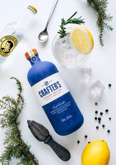 """Crafter's Gin for Liviko, Estonia. The aim was to create a strong shelf impact in crowded alcohol stand. Crafter's gin is produced in small batches and hand labelled – unique for the mass market production these days. Gin Bottles, Alcohol Bottles, Bottle Packaging, Brand Packaging, Mojito, Vodka, Tequila, Blue Gin, Photo Food"