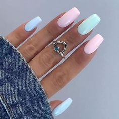 Acrylic Nails Coffin Short, Simple Acrylic Nails, Summer Acrylic Nails, Best Acrylic Nails, Acrylic Nail Designs, Simple Nails, Spring Nails, Summer Nails, Matte Gel Nails