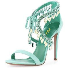 FSJ Wedding Shoes for Bride Open Toe Sandals Ankle Strap Pumps with... (£43) ❤…