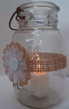 10 Rustic Burlap White Lace Daisy Mason Jar  Centerpiece Wedding Party Wraps N26 #BurlapBrides