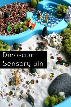 Dinosaur Sensory Bin and Small World Play for Preschool Dinosaur Theme Dinosaurs Preschool, Dinosaur Activities, Dinosaur Crafts, Sensory Activities, Preschool Activities, Dinosaur Land, Summer Activities, Family Activities, Preschool Class