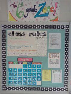informational bulletin board 6th Grade All-Stars: Classroom Rules