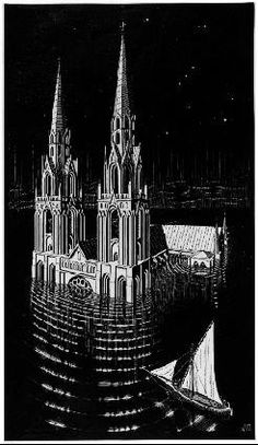 """MC Escher """"The Drowned Cathedral"""""""