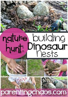 Dinosaur Nests: Exploring how Dinosaurs raised and cared for their babies with a fun and messy sensory science activity!This science activity for kids is a great way to get outdoors and connect with nature while exploring how and why dinosaurs built their nests the way that they did.