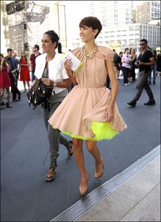 15 w flesh color short dress with light yellow-green petticoat platform pumps ol by The Urban Vogue, via Flickr