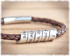 Hidden Message Bracelet • Men's Leather Bracelet • Anniversary Gift • Men's Jewelry by SuedeSentiment on Etsy https://www.etsy.com/listing/126579333/hidden-message-bracelet-mens-leather