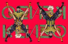 """Несколько часов назад дом Kenzo представил новую кампанию-""""перевертыш"""", в съемках которой приняли участие модели Минг Кси и Джестер Уайт. Стоя на фоне логотипа Kenzo на обжигающе-красном фоне, они следом за Ксао Вен и Саймоном Сабба — героями рекламы предыдущего сезона — выполнили сложную поддержку."""