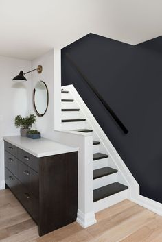 54 The Most Popular Staircase Design This Year For Interior Design Your Home Design # Interior Design Your Home, House Paint Interior, Interior Stairs, Kitchen Interior, Most Popular Paint Colors, Painted Stairs, Bedroom Paint Colors, Basement Paint Colours, Staircase Design