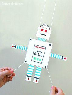 Üles-alla kihutav robot vm. Teibi selja taha 2 kõrt nöör läbi nööri otstesse  takistused, riputa millegi külge ja las sõidab. Rakett oleks etem. Papist muidugi.