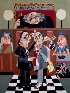 Order In The Court Judge Lawyer Courtroom Cubism Print by falboart, $39.00