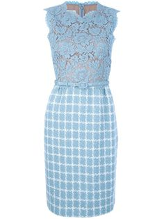 Pale blue cotton blend sleeveless dress from Valentino featuring a jewel neck with a scalloped trim, a lace fitted top with a beige underlay, a fitted waist, a thin waist belt, a checked straight cut skirt with pleats to the top and a concealed rear zip fastening.