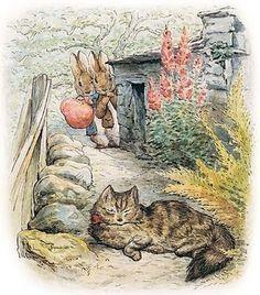 Children's / Fantasy Illustrations: Beatrix Potter - Peter and Benjamin see the cat