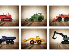 Set of SIX Primary color Construction Digger Photo  Prints, BullDozer, Dumptruck, Digger, Tractors on Wood, Boys Room decor, Consts