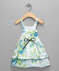 blue and green flower dress so cute for a little girl