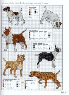 Patrones perros punto de cruz