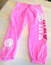 Victoria's Secret PiNK Lounge Sweatpants XS Pink Graphic Felt Letters Capri CUTE