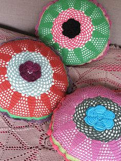 Vintage style crochet cushions by http://www.nathalie-lete.com