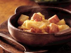 Slow Cooker Corn, Ham and Potato Scallop  ;  you can use some of that holiday ham that was let over!