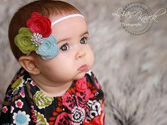 Felted Flower Spring Summer Headband Baby by bellasbowtique2008, $16.99