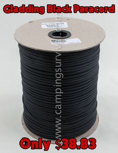 Gladding Black U.S. Made Paracord 1000 Feet  *Price subject to change without notice.