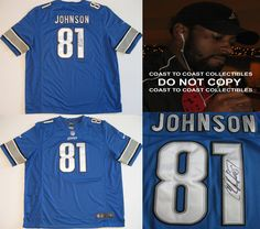 Calvin Johnson Detroit Lions, Signed, Autographed, Lions Jersey, a COA with the Proof Photo of Calvin Signing Will Be Included