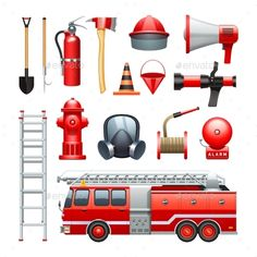 Firefighter Equipment And Machinery Icons Set by macrovector Firefighter tools equipment and engine red realistic icons collection with water house and extinguisher abstract vector illustrati Firefighter Equipment, Firefighter Tools, Fire Equipment, Tools And Equipment, Turkey Disguise, Inside Art, Fireman Sam, Water House, Fire Element