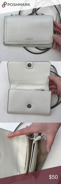 White Coach Wallet Bag Never worn, not my style just cleaning out my closet, $50 or best offer Coach Bags Mini Bags