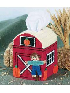 Plastic Canvas - Children's Corner - Tissue Toppers - Down on the Farm Tissue Topper - #FP00147