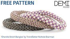 Chenille Stitch Bangles featuring TOHO Demi Round beads by Nichole Starman