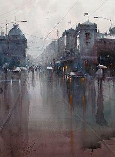 Dusan Djukaric, Belgrade -national museum, rainy day, watercolor, 54x74-cm
