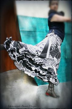 Mermaid cut flamenco dance skirt with 5 ruffles by ScheherazadeBanoo on Etsy, $165.00