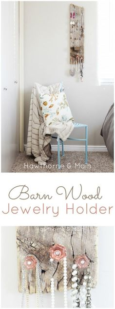 I am loving me new Barn Wood Jewelry Holder!! I  now have a cute functional way to store my jewelry! #hawthorneandmain #diy #craft #homedecor