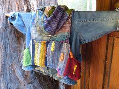 Saori weaving over jean jacket