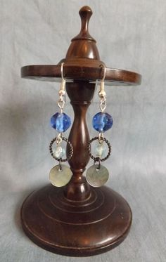 Beautiful Silver tone, Shell and Glass bead earrings.                                          (Approximately 4.6cm in length and 1cm wide)