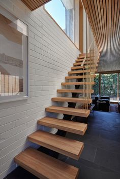97 Most Popular Modern House Stairs Design Models - Home Stairs Design, Interior Stairs, House Design, 1970s House, Floating Staircase, Modern Stairs, House Stairs, Midcentury Modern, Home Remodeling