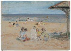 WILHELM WACHTEL (1875-1952) Am Strand 13 5/8 x 18 3/4 in (34.3 x 47.7 cm) (Drawn in 1949)