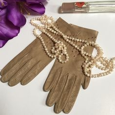 Vintage leather gloves Excellent condition. No stains. 9 inches long. Size 7.5. Camel colored Accessories Gloves & Mittens