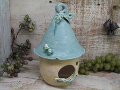 Large Ceramic Birdhouse - Handmade pottery bird house by Heidi Ceramic Houses, Ceramic Birds, Ceramic Clay, Hand Built Pottery, Slab Pottery, Make Your Own Pottery, Pottery Handbuilding, Ceramic Workshop, Wheel Thrown Pottery